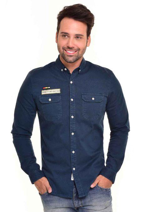 Camisa-QUEST-Custom-Fit-QUE111170085-Azul-Petroleo-1