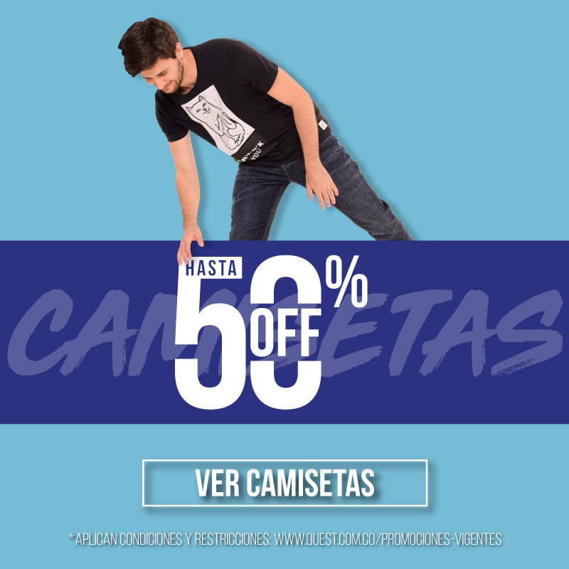 Hasta 50% off en camisetas QUEST